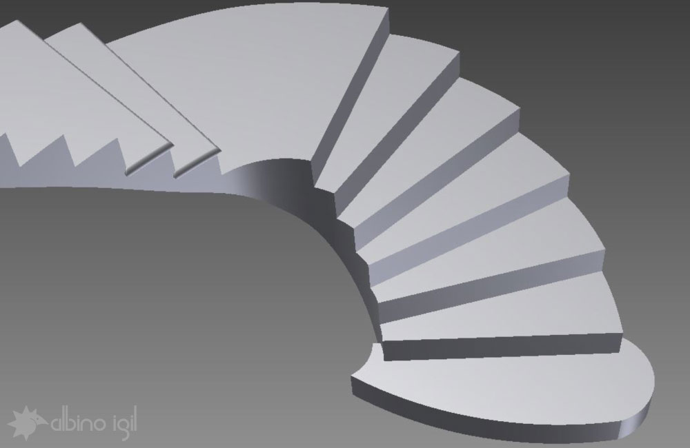 Stone Staircase Solid Model 2